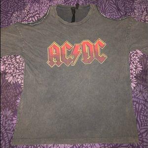 Off Shoulder AC/DC Graphic Tee